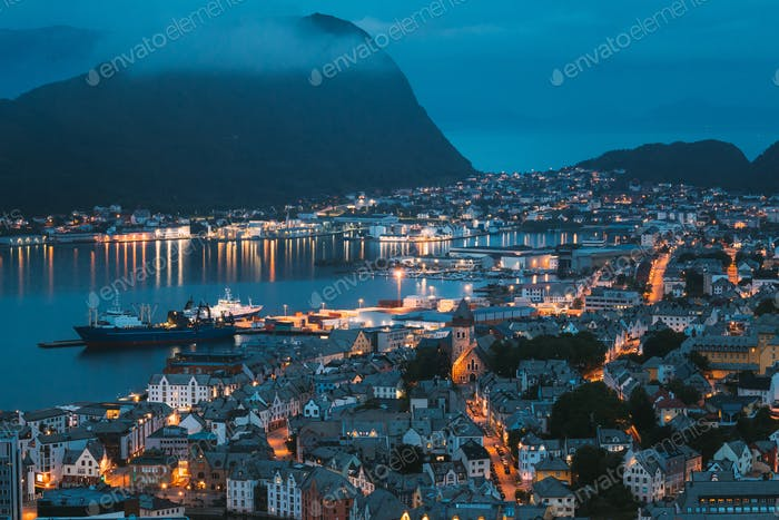 Alesund, Norway. Night View Of Alesund Skyline Cityscape. Historical Center In Summer Evening
