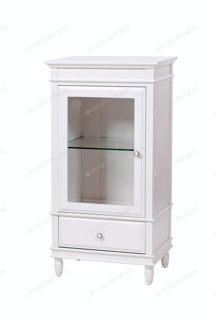 Classic white wooden floor cabinet, with path