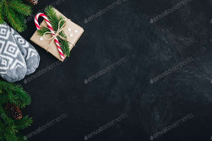 Christmas festive background with christmas tree branches