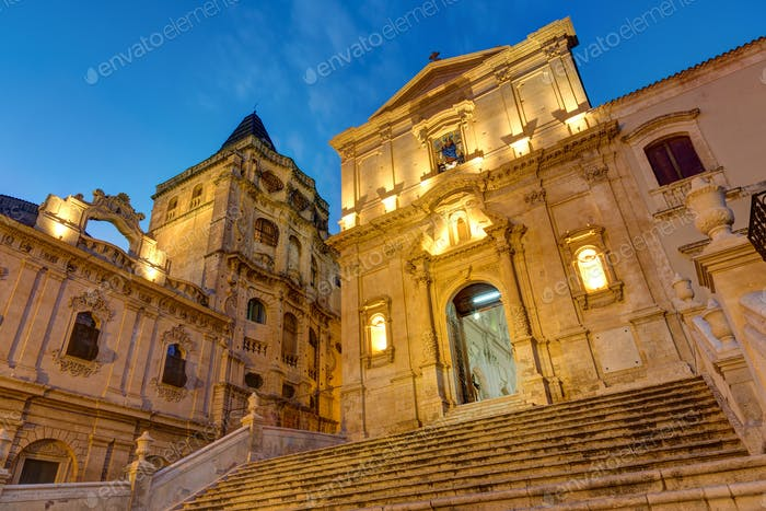 The old baroque town Noto at night