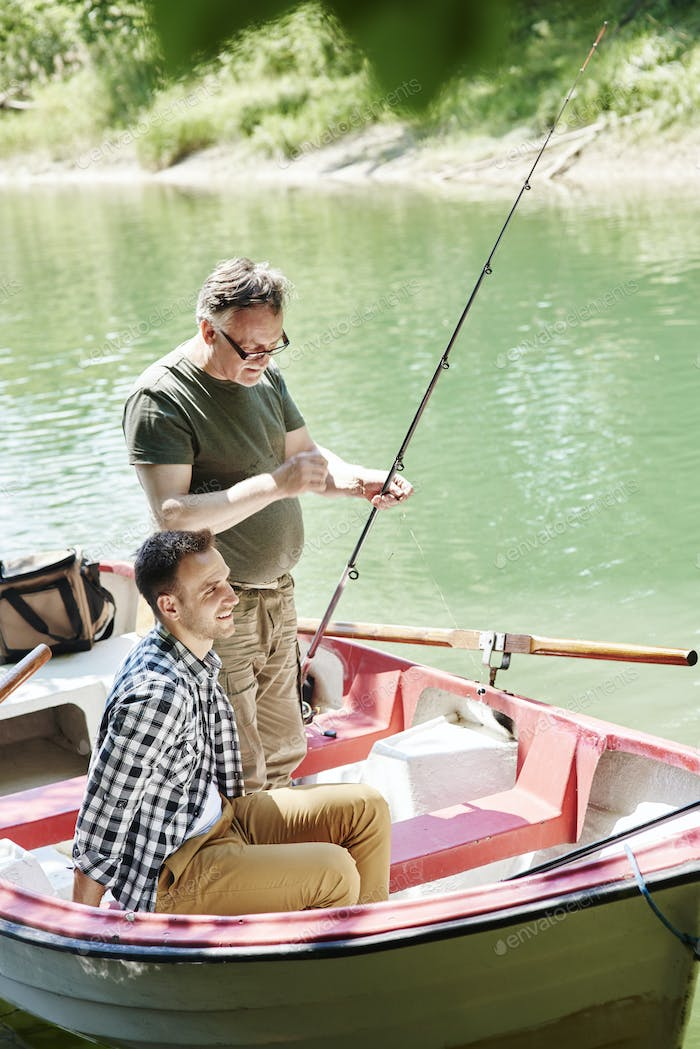 Men make preparations for fishing
