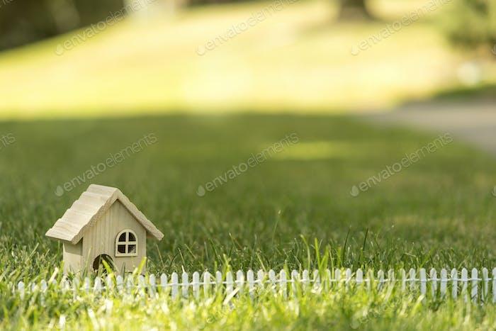Little house on grass in sun light