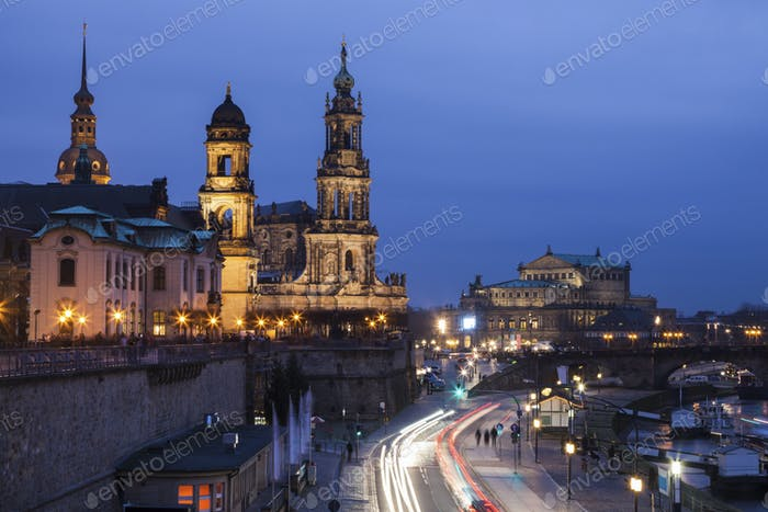 Dresden panorama at evening