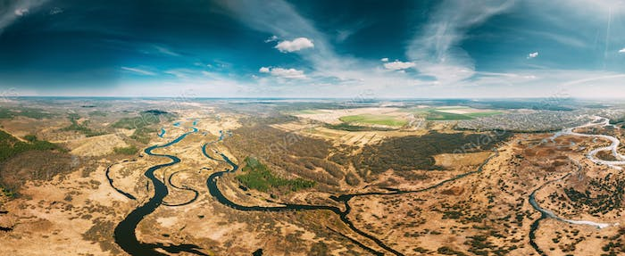 Aerial View Curved River In Early Spring Landscape. Top View Of Beautiful European Nature From High
