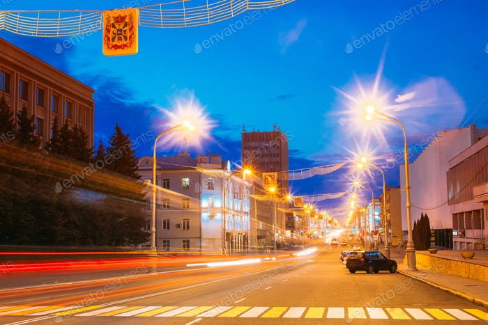 Bright Evening Illumination On The Main Avenue In Gomel, Belarus
