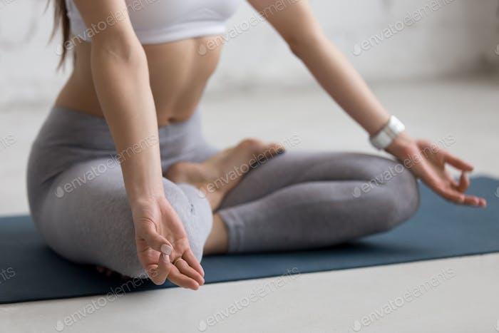 Yoga Indoors: woman meditating
