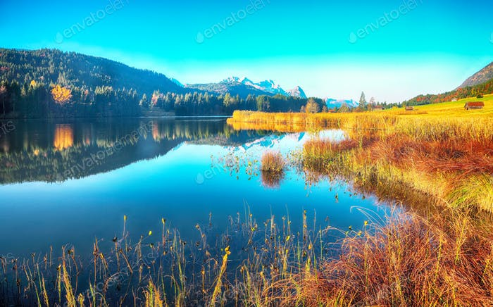 Astonishing view of Wagenbruchsee (Geroldsee) lake with Zugspitze mountain range on background.