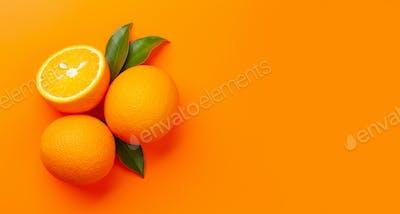 Fresh ripe orange fruit on orange