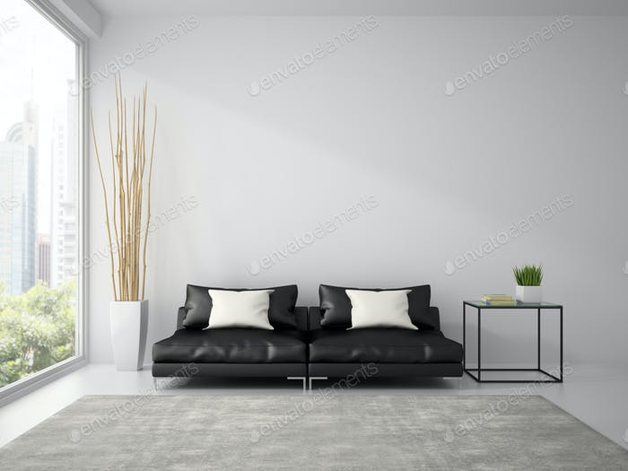 Part of  interior with black sofa and white pillows 3D rendering