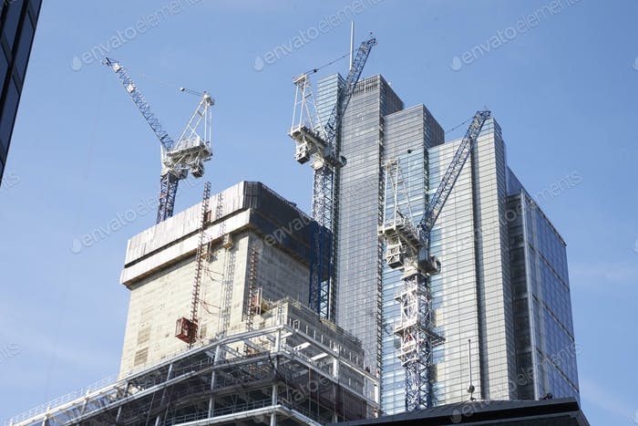 LONDON - MAY, 2017: Cranes working on construction