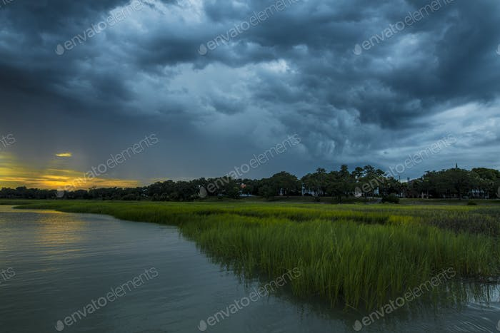 Angry storm clouds over coast