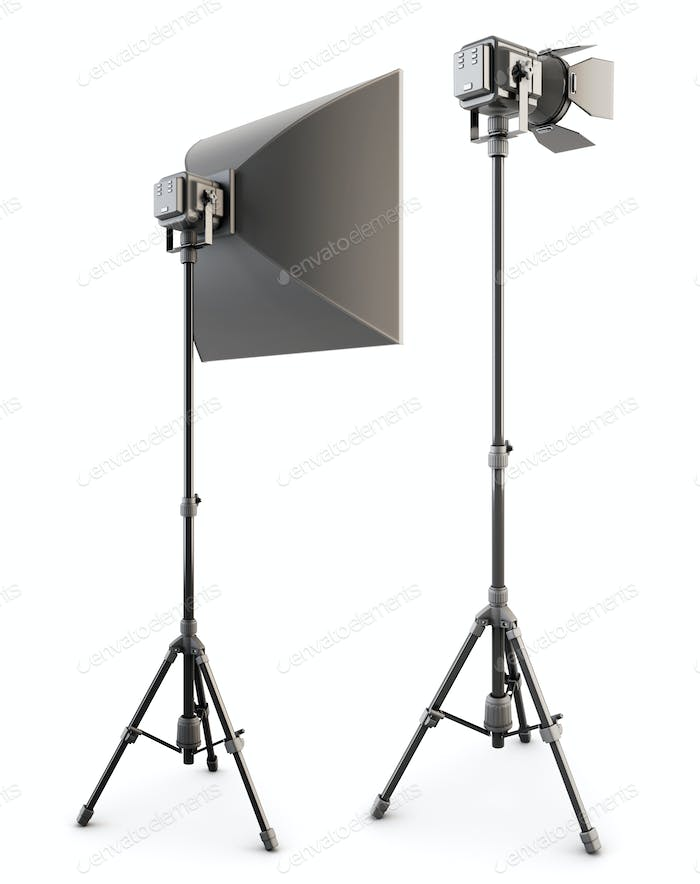 Studio lighting isolated on the white background. 3d rendering.