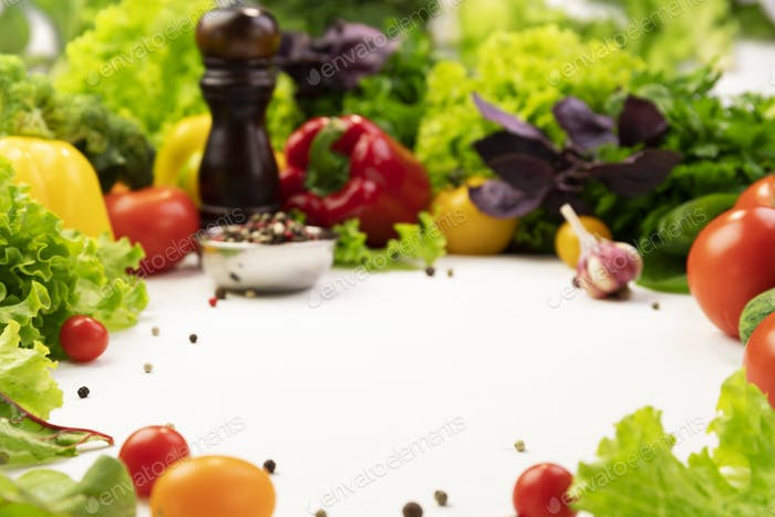 Fresh organic vegetable ingredients for cooking around empty space