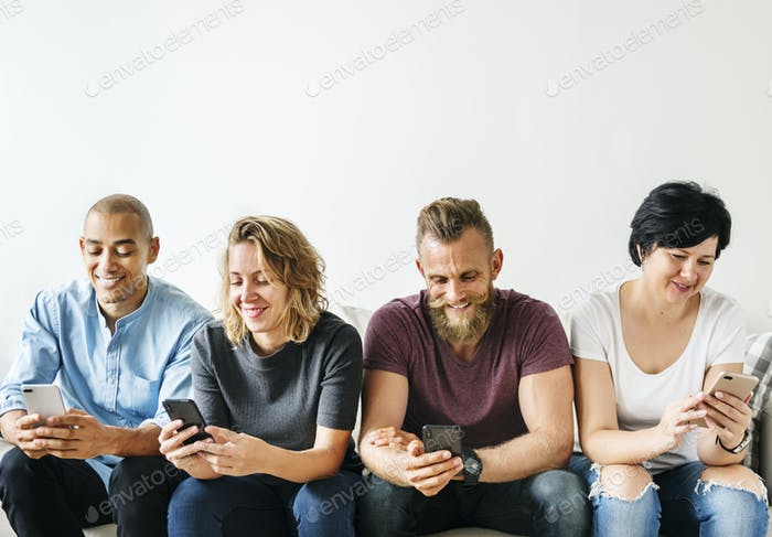 People using a smartphone
