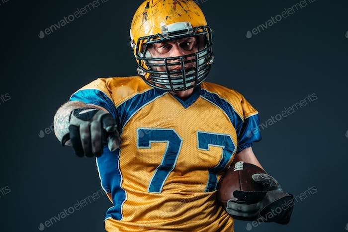 American football player pointing his finger