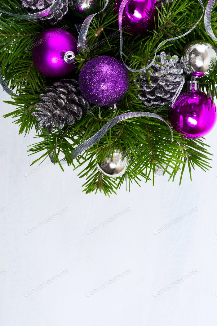 Marry Christmas background with purple baubles