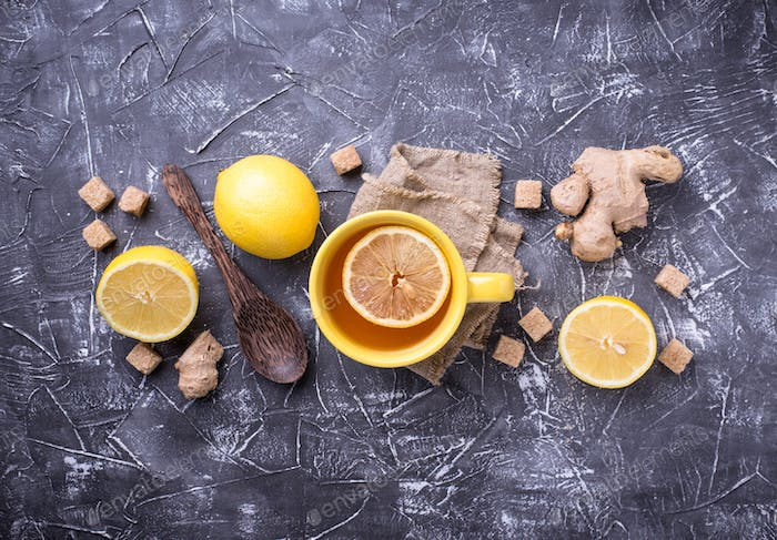 Hot tea with lemon and ginger