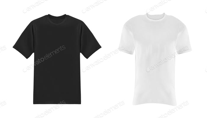 black and white t-shirts isolated on white background