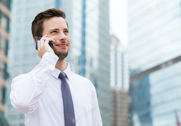 Young Businessman talk to cellphone