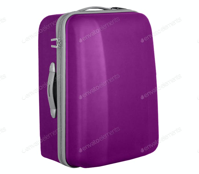 violet suitcase isolated over a white background
