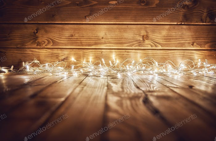 ights on wooden rustic background