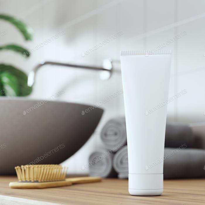 Kosmetik-Produkt-Anzeige Badezimmer Innenraum Hintergrund. 3D Illustration