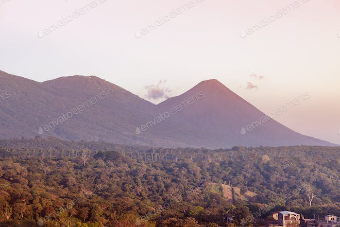Volcanos of Cerro Verde National Park seen from Juayua