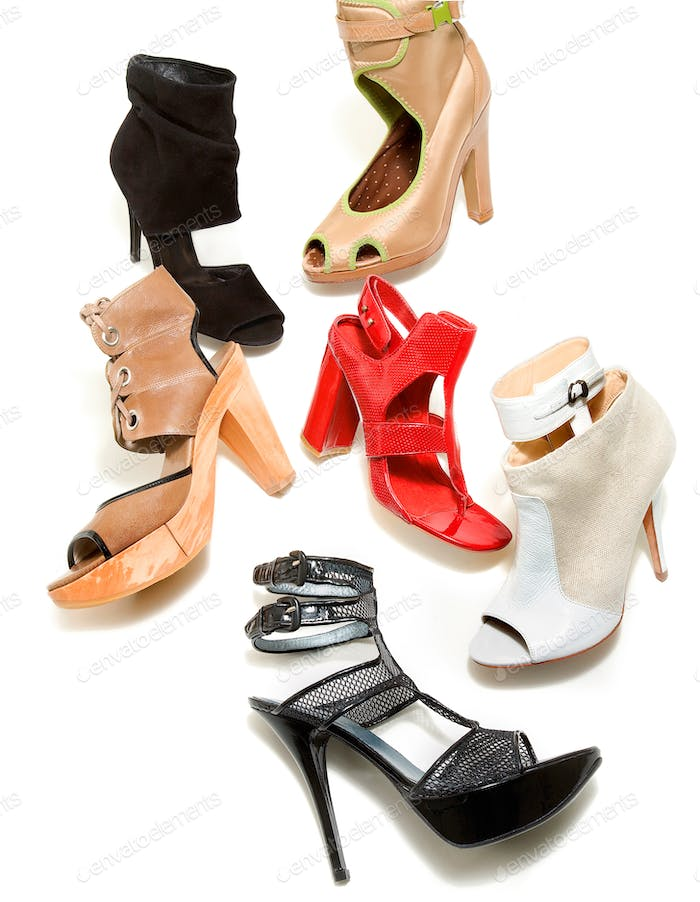 Peep toe booties stilettos fashion still life composition