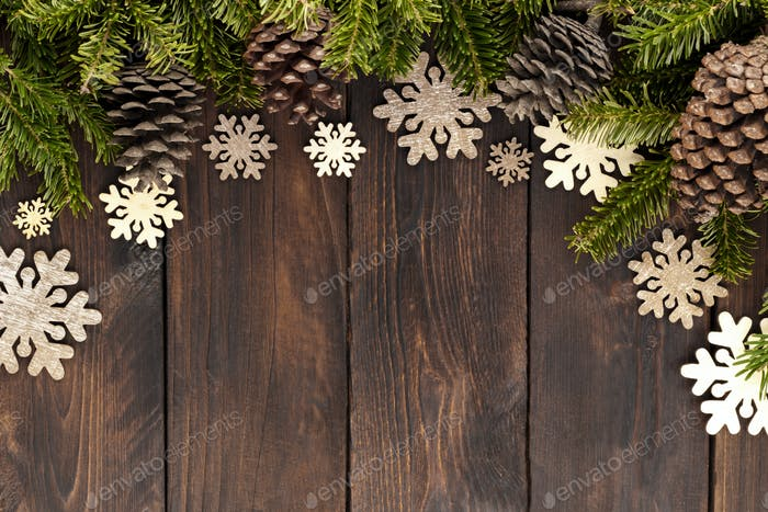 Christmas decorations on old rustic board