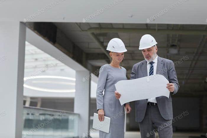 Business People Wearing Hardhats at Construction Site