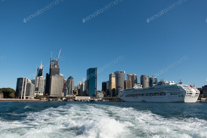 view of  Sydney CBD  from ferry boat