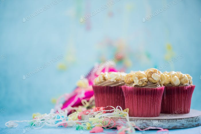 popcorn cupcakes with copy space background