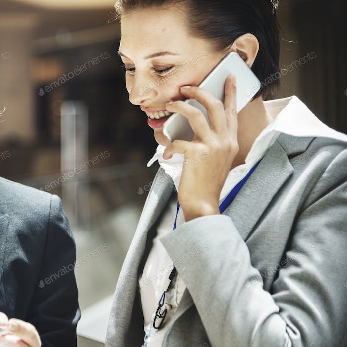 Businesswoman Telecommunication Connection Concept