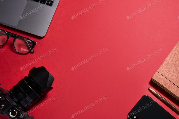 Flat Lay Shot Of Techno Items For Modern Worker With Laptop Mobile Phone And Camera