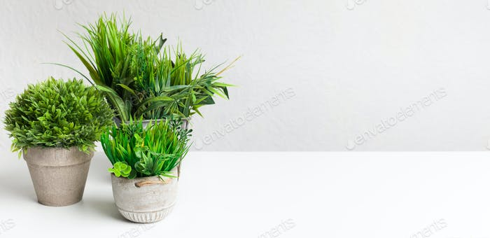 Collection of various artificial plants in different pots