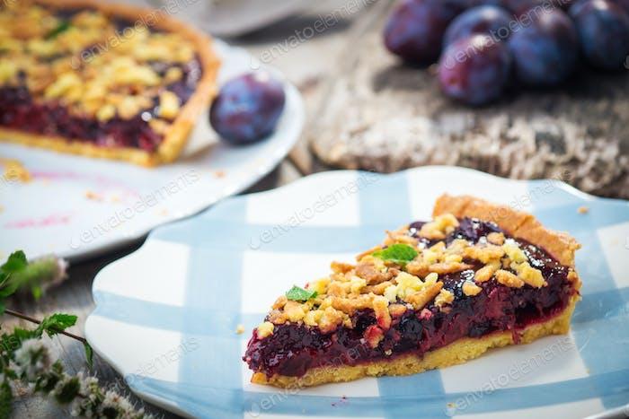 Homemade organic plum pie