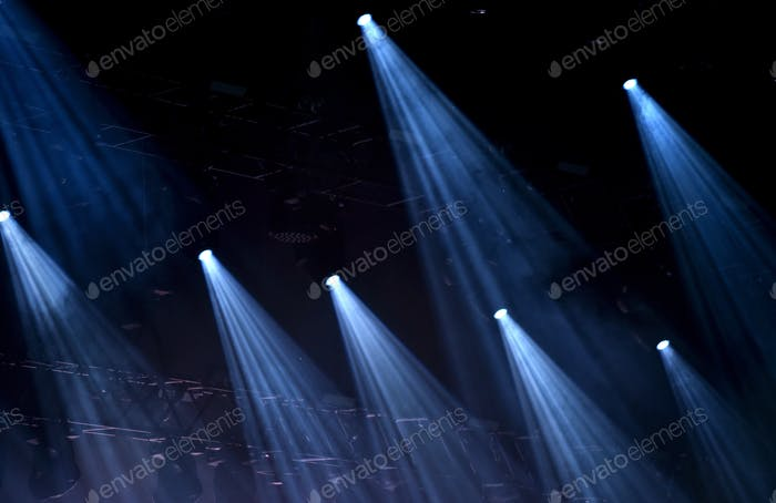 Blue stage spot lights