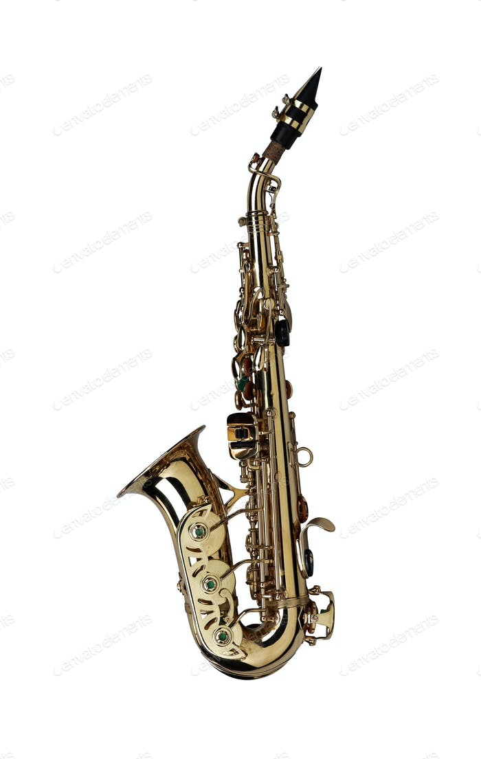 saxophone isolated under the white background ( Clipping path )