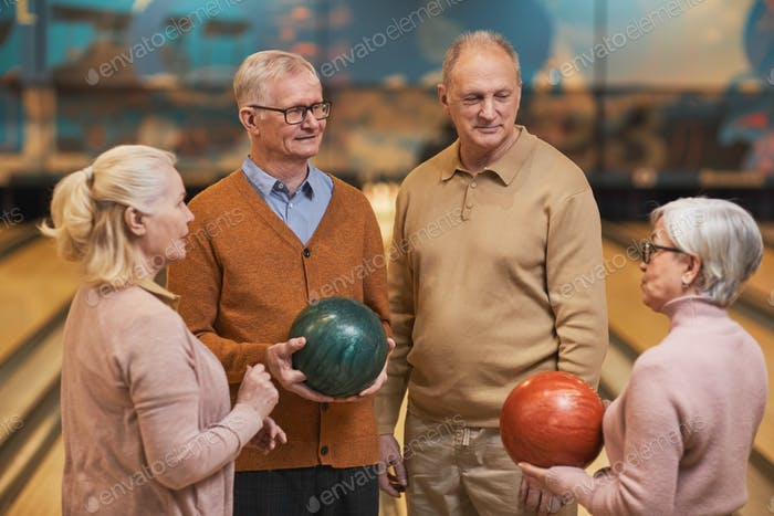 Group of Senior Friends at Bowling Alley