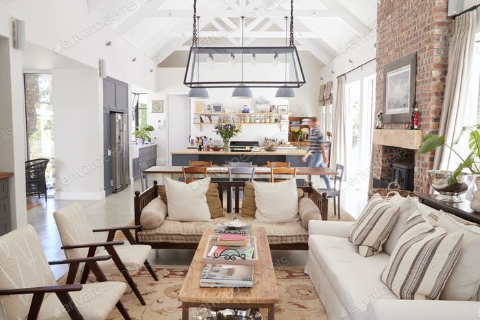 Open plan interior of a modern period conversion family home