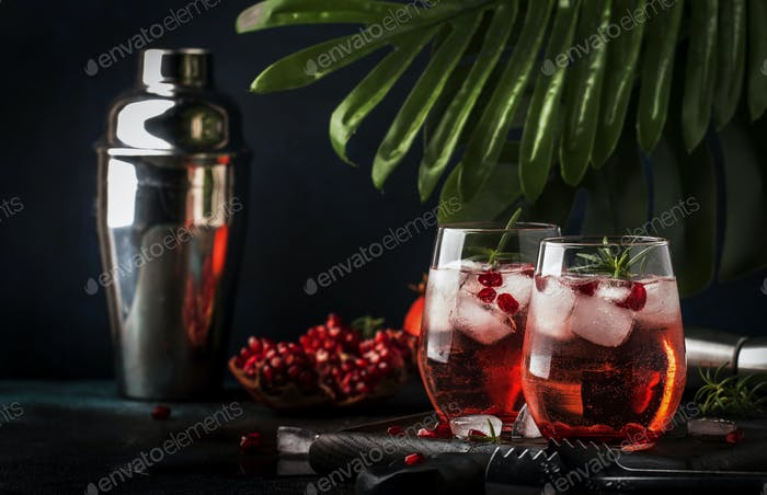Red cocktail vodka pomegranate juice