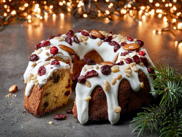 christmas cake on grey table