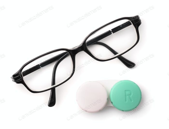 Top view of eyeglasses and eye contact lenses