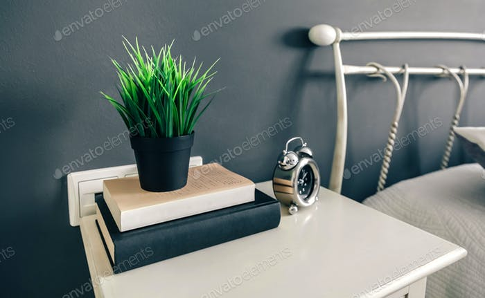 Bedside table with books and plant