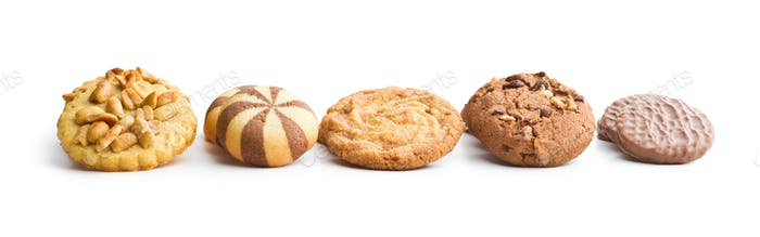 Various types of sweet cookies.