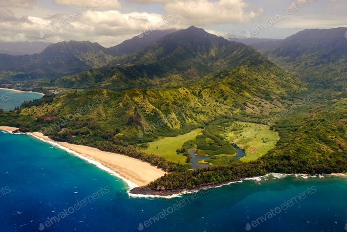 Aerial landscape view of shoreline at Na Pali coast, Kauai, Hawaii