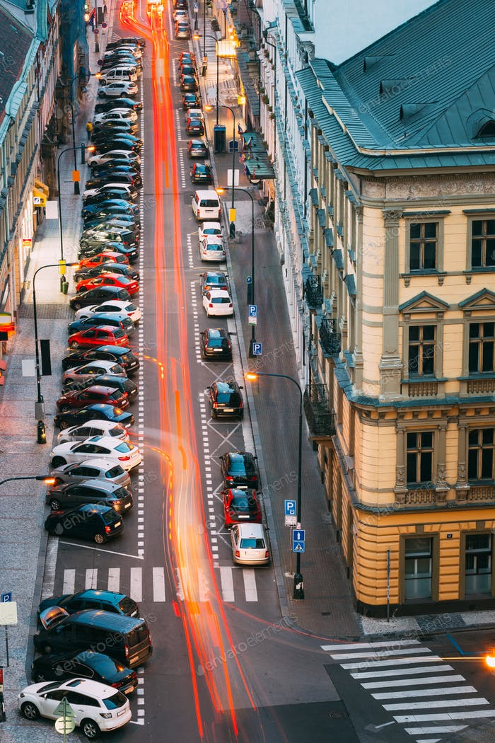 Prague, Czech Republic. Top View Of Traffic And Parked Cars On H