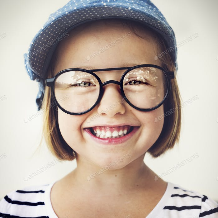 Cute Little Girl Smiling Fun Happiness Retro Concept