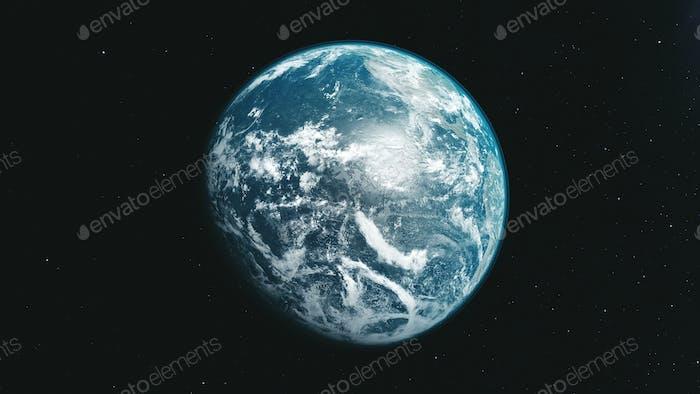 Earth orbit zoom reverse open space background