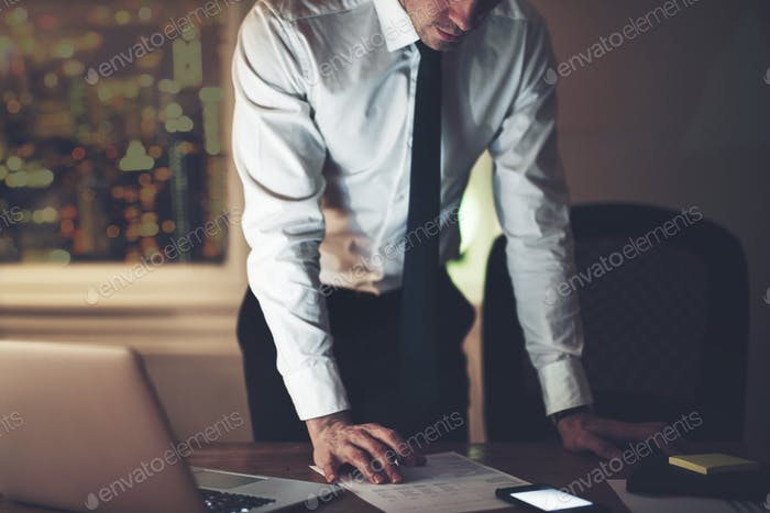 The accountant standing and working in office